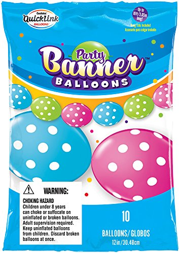 Party Banner Balloons 10 Count Big Polka Dots QuickLink Banner Balloons, 12-Inch