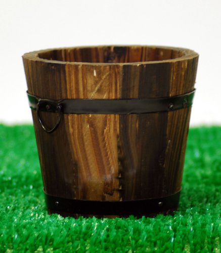 Mini wooden bucket planter - Dark wood