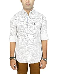 AA' Southbay Men's White Printed 100% Premium Cotton Long Sleeve Casual Shirt