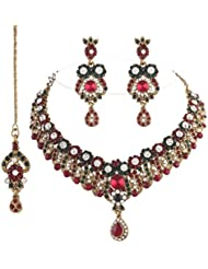 I Jewels Traditional Gold Plated Stone Jewellery Set With Maang Tikka For Women (Maroon & Green)(M4037MG)