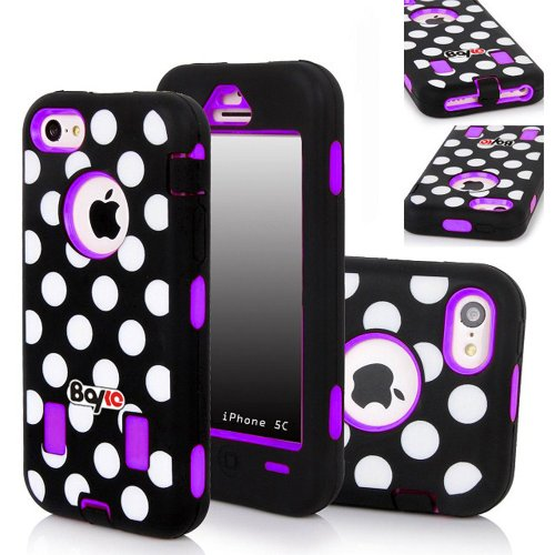Bayke Brand 3in1 Armorbox Armor Defender Bumper Case for Apple Iphone 5C (5 & 5S Not Fit) Fashion Polka Dots Design High Impact Dual Layer Hybrid Full-body Protective Case (Purple / Screen Protector not Include) at Amazon.com