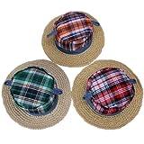C-Princessキッズ 子供用帽子 ストローハット 麦わら帽子 紫外線防止対策 UVカットユニセックス手編み