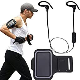 Larkoo Bluetooth Headset Sweatproof Wireless Earbuds Sports Headphones Stereo Earphones + Sport Armband Case for Apple Iphone 6s 6 Plus Galaxy S6 Edge + with Touch Responsive Clear Screen Protector