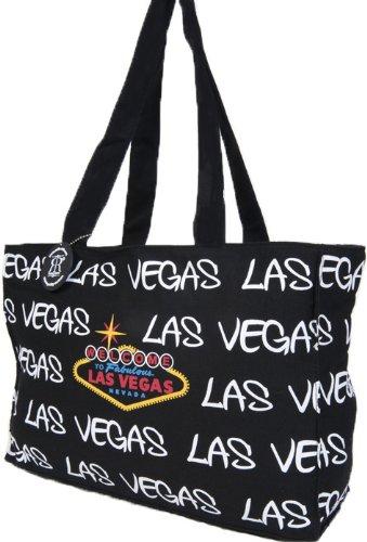 Robin Ruth Las Vegas Bag, Black Canvas Shopper   Beach  Casual   Travel Tote Bag , Las Vegas Souvenir Bag (Las Vegas Merchandise compare prices)