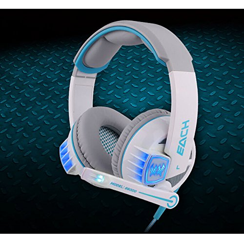 Versiontech Comfortable Usb 3.5Mm Stereo Gaming Glaring Led Lighting Over-Ear Headset Headphone Headband Earphone With Mic Volume Control For Pc Computer Cf Game With Noise Cancelling - Each G6000 White