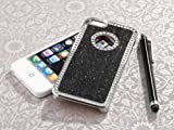 SODIAL(R) iphone 5 case - Deluxe Black Diamond Rhinestone Glitter Bling Chrome Hard Case Cover for Apple iPhone 5 5G + Screen Protector + Stylus
