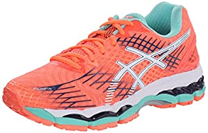 ASICS Women's Gel-nimbus 17 Running Shoe, Flash Coral/White/Indigo Blue, 8 M US