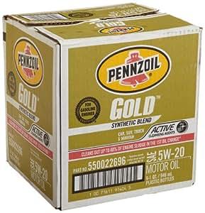 Pennzoil 550022696 6pk gold sae 5w 20 for Sae 5w 20 synthetic blend motor oil