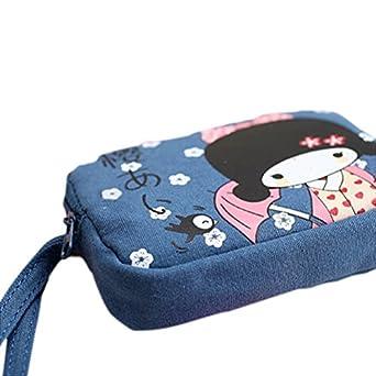 New Cute Japanese Girl Print Canvas Phone Bag Double Zipper Purse Coin Bag