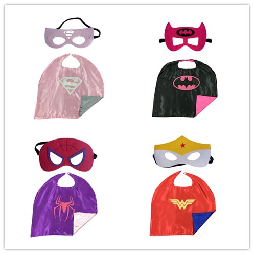 [Maxagathe Superhero Cape and Mask Costumes 4 set For Kids - Style D (Girls)] (Batwoman Costume Cape)