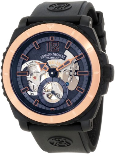 Armand Nicolet Men's S619N-BU-G9610 L09 Limited Edition Two-Toned (D.L.C. Black Titanium & Gold) Sporty Hand Wind Watch
