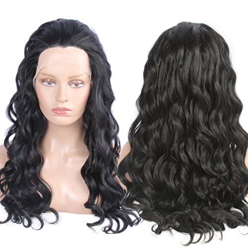 Preferred Hair Wet and Wavy Synthetic Lace Front Wigs for Black Women Natural Hairline Black Color Long Fiber (Star Long Wavy Wig)