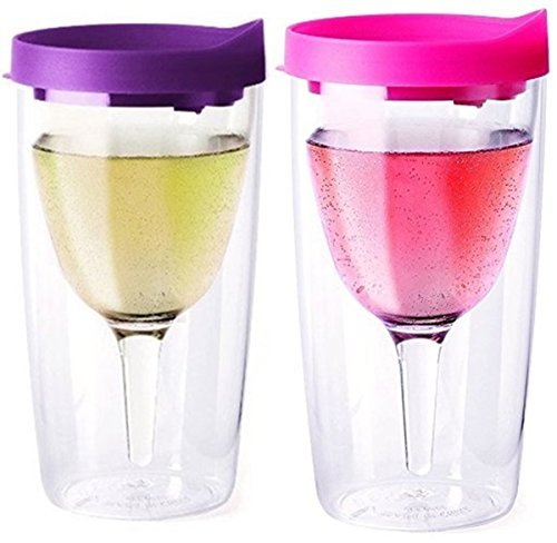 Purple and Pink Lid Vino2Go Travel Tumbler Adult Wine Sippy Cup, Pair of 2, 10 oz (Wine Tervis compare prices)