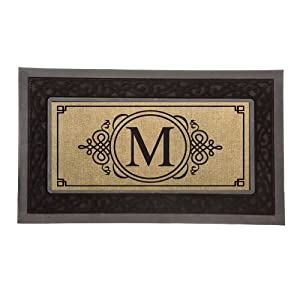 Burlap monogram m sassafras welcome door mat for Door mats amazon