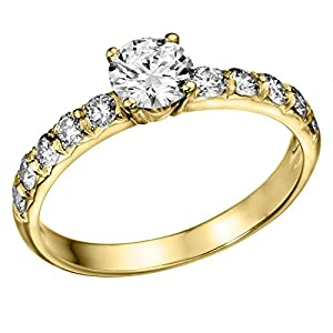 IGI Certified 14k yellow-gold Round Cut Diamond Engagement Ring (1.01 cttw, D Color, SI3 Clarity) - size 5.5