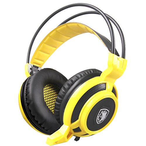SADES Arcmage 3.5mm Over-Ear Stereo Gaming Headphones Surround Sound PC Gaming Headset with Microphone & Volume Control for PC Gamer Video Games/Notebook/Laptop(Yellow)
