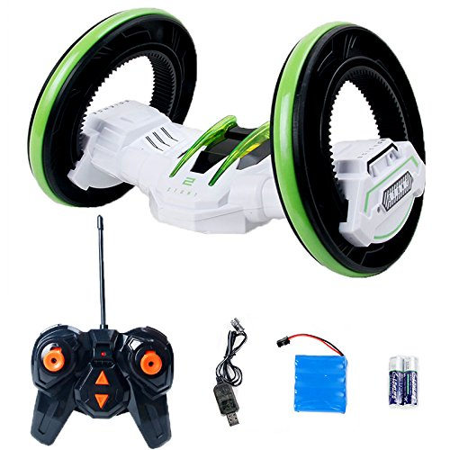 Darius Two Wheels Stunt Race Car, RC Vehicle with LED Headlights, Double-sided Tumbling, Extreme High Speed 360 Degree Rolling Rotating, White (Traxas Tires compare prices)
