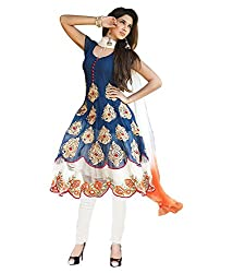 Metroz Sky Blue Georgette Embroidered Anarkali Salwar Kameez with Dupatta