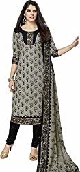 SDM Women's Cotton Printed Dress Material Unstitched (929, Grey, Free Size)