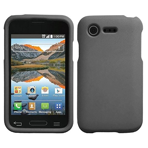 HR Wireless Rubberized Case for LG Optimus Zone 2 L34C Fuel - Retail Packaging - Gray (Lg Optimus Fuel Cell Phone compare prices)