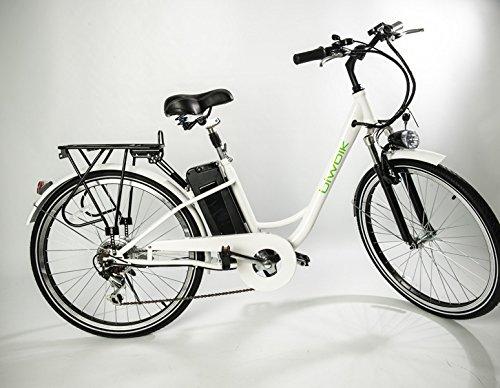 Biwbik-Mod-Sunray-26-Zoll-ElektrofahrradE-BikePedelec36V-250W-Motor-36V-Li-Ion-Akku-mit-8Ah-Kettenumwerfer-Shimano-6-speedweischwarz-wei