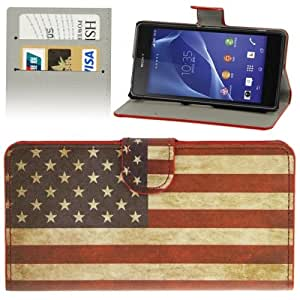Retro US Flag Pattern Leather Case with Credit Card Slots & Holder for Sony Xperia Z2 / L50w