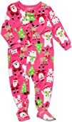 Carters Girls Microfleece Christmas Holiday Sleeper Pink