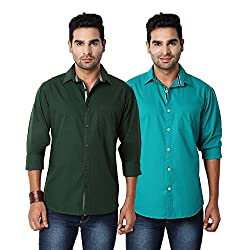 Entigue Men's Cotton Slim Fit Full Sleeve Casual Shirt Combo (Set of 2)