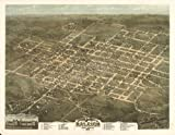 Historic Panoramic Map Bird's eye view of the city of Raleigh, North Carolina 1872. Drawn and published by C. Drie.