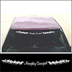 See Windshield Decal - Naughty Cowgirl With Running Horses - For Country Girl Car Or Horse Truck Trailer In SILVER - 4 x 42 inch Details