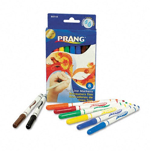 Dixon : Prang Washable Markers, Fine Point, 8 Assorted Colors, 8/set -:- Sold as 2 Packs of - 8 - / - Total of 16 Each