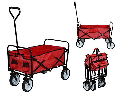 Folding Collapsible Utility Wagon Garden Cart Shopping Buggy Yard Beach Cart Toy Sports Red