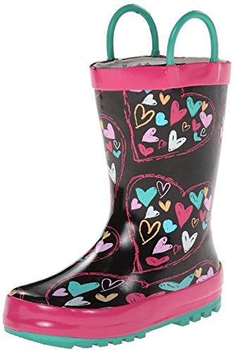 Western Chief Heart Doodle Rain Boot (Infant/Toddler/Little Kid),Black,8 M Us Toddler front-947276