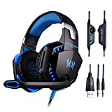Gaming Headset, Stereo Sound LED Over Ear Headphones with Mircophone for PC PS4 Computer Laptop Gamer with Noise Cancelling & Volume Control (Deep-Blue)