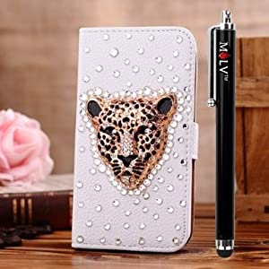 M LV Samsung Galaxy Grand Duos I9080 I9082 Leather Diamond Bling crystal Folio Support Smart Case Cover With Card Holder & Magnetic Flip Horizontals - Britain Gold Leopard by M LV