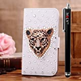 M LV Samsung Galaxy Star Pro GT-S7262 Leather Diamond Bling crystal Folio Support Smart Case Cover With Card Holder & Magnetic Flip Horizontals - Britain Gold Leopard