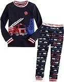 Vaenait Baby Kids Boys 2pcs Long Sleeve Pajama Sleepwear Set Fire Truck