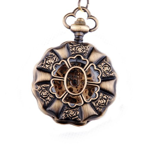 Steampunk Rose Pocket Watch Chain Mechanical Hand Wind Full Hunter Value Quality - PW16