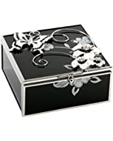 Black and White Butterfly Jewellery Trinket Box with Black Glass By Haysom Interiors