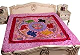 Indian Traditional Ethnic Tapestry Pink Embroidery Elephant Bedspread Bed Cover 90x108 Inches
