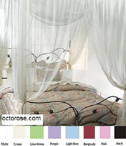 4 Poster Four Corner White Bed Canopy Mosquito Net Full