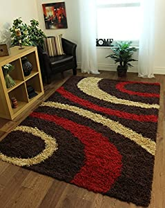 Helsinki Chocolate Brown, Red & Beige Soft Shaggy Swirl Pattern Rugs 1888 - 4 Sizes Available by The Rug House