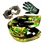 Motocross MX BMX Youth Green Camouflage Helmet + Goggle + Skeleton Glove