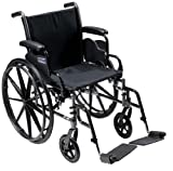 Drive Medical Cruiser III Light Weight Wheelchair with Various Flip Back Arm Styles and Front Rigging Options, Black, 20″