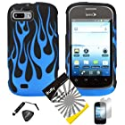 4 items Combo: ITUFFY (TM) LCD Screen Protector Film + Mini Stylus Pen + Case Opener + Design Rubberized Snap on Hard Shell Cover Faceplate Skin Phone Case for ZTE Fury N850, ZTE Director N850L, and ZTE Valet Z665C, Android Smartphone (Blue Flame)