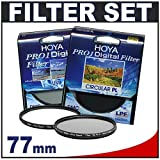 Hoya Pro1 Digital 77mm TWO Multi-Coated Glass Filters Kit with Hoya Pro 1 UV + Circular PL Polarizer Filter for Canon, Nikon, Olympus & Pentax Lenses with 77mm Filter Size