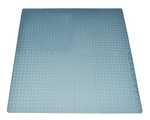 16-square-ft Grey Exercise Mat Anti-fatigue Interlocking Puzzle EVA Foam Floor Proctecting 4-tile with 8-boarder by Poco Divo