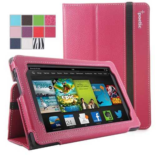 #1  Poetic Slimbook Case for All New Kindle Fire HD 7 2nd Gen (2nd Generation 2013 Model) 7inch Tablet Hot Pink (with Smart Cover Auto Wake / Sleep Feature)(3 Year Manufacturer Warranty From Poetic)