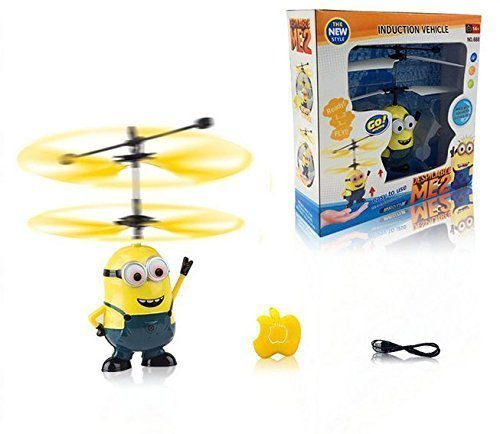 Flying bull Creative cute Cartoon characters Despicable Me Minion Big Hero 6 baymax Rc-helicopter Remote Control Aircraft Toys Kids Gifts (binoculus 1)
