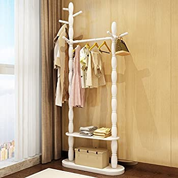 Floor home hanger bedroom solid wood racks minimalist modern living room clothing racks